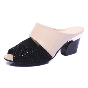 Leather Sandals Fashion Rhinestones Patchwork Shoes