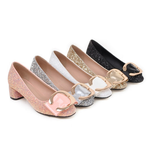 Large size 34-43 square toe  heels shoes