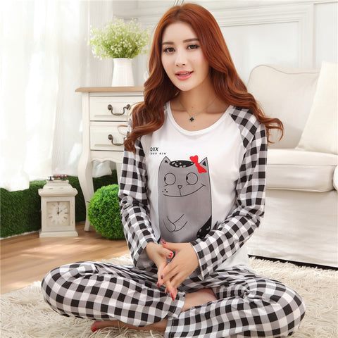 Cartoon nightgown  O-Neck Long Sleeve Sleepwear