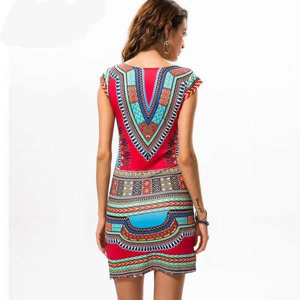 Short V-neck  Dashiki Traditional Print Mini
