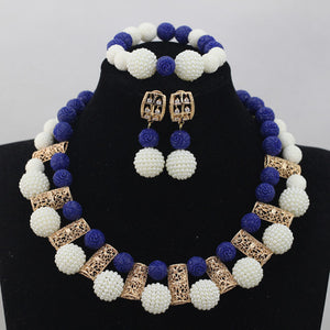 White Ball  Coral Beads Jewellery Set