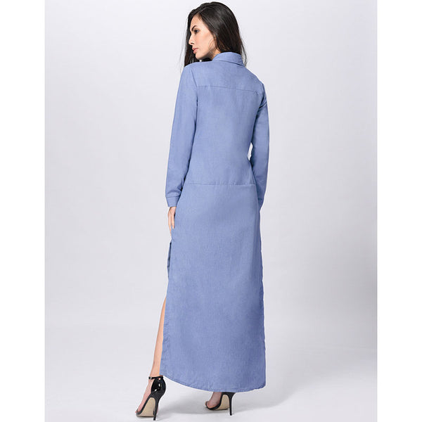 Long Dress Polo Collar Full Sleeve Side Split Maxi  Plus Size
