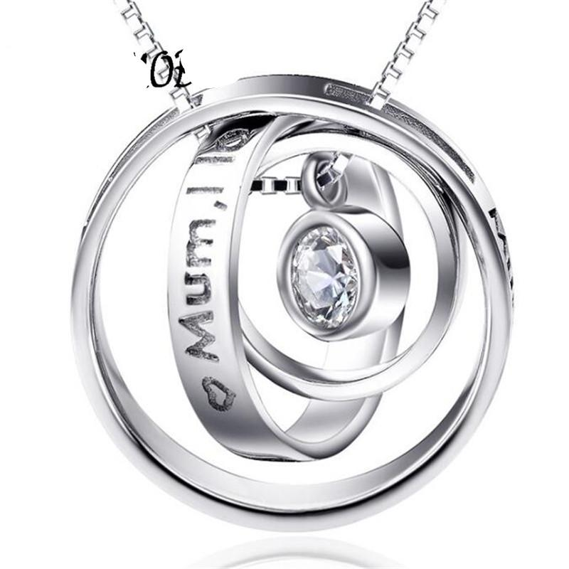 Rotatable Zirconia Pendant Necklace Mum I Love You Mum