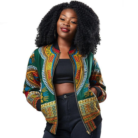Traditional African Print Ankara Women  Bomber Jacket Coat