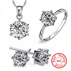 Real Solid 925 Silver Ring Jewellery  Set