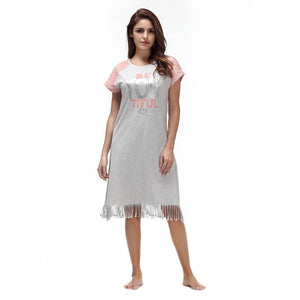 Nightgown Cotton Lace Short Sleeve Nightshirt
