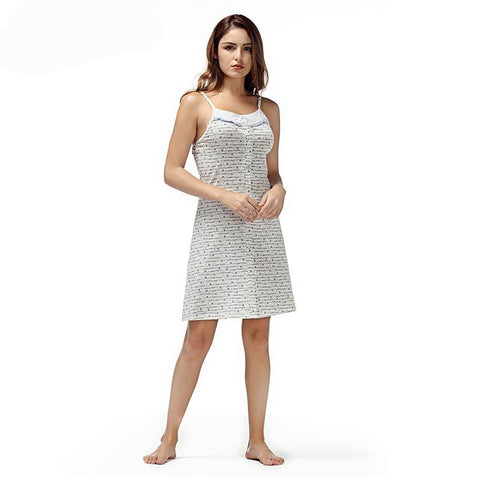 Spaghetti Strap Nightdress Button Pyjamas