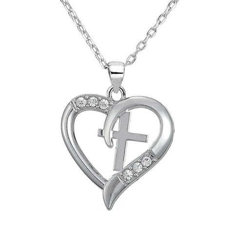 Silver Plated Christian Cross Heart Pendant