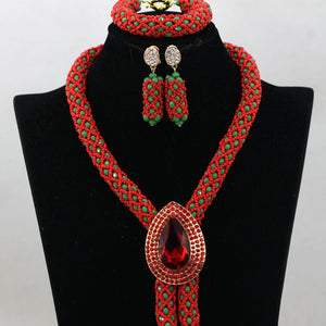 Champagne Gold Beads Jewellery Set African Costume Necklace Set