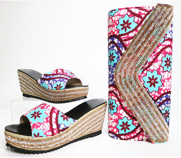 Print Wax Fabric Shoes And Bag Wedges Heels Shoes And Purse