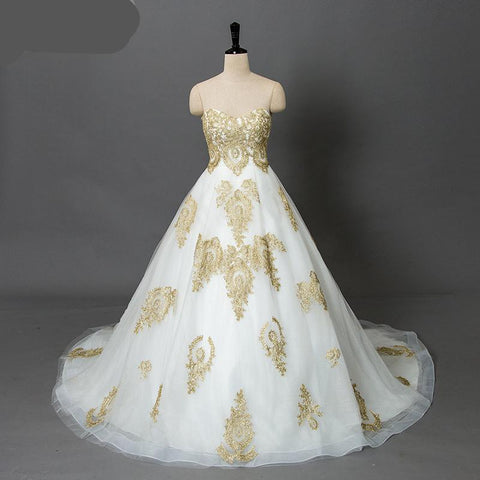 Plus size Gold white  Lace wedding dress