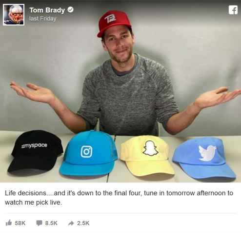 New England Patriots Tom Brady uses Hats to Make Decision