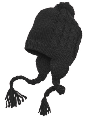 Black Cabled Beanie with Pom Hat