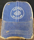 Vintage Distressed Happy as a Clam Dirty Mesh Blue Snapback Hat