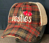 Beastie Vintage Distressed Dirty Mesh Plaid Snapback Hat