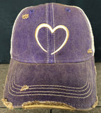 Vintage Distressed Purple Dirty Mesh Wicked Cool Love Heart Symbol Snapback Hat