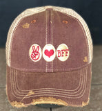 Best Friends Vintage Distressed Dirty Mesh Red Wine Snapback Hat