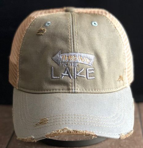 Vintage Distressed Sky Blue This Way to the Lake Dirty Mesh Snapback Hat
