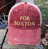 "Vintage Distressed Maroon ""FOR BOSTON"" Dirty Mesh Snapback Hat"