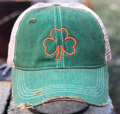 Vintage Distressed Green Irish Clover Dirty Mesh Snapback Hat