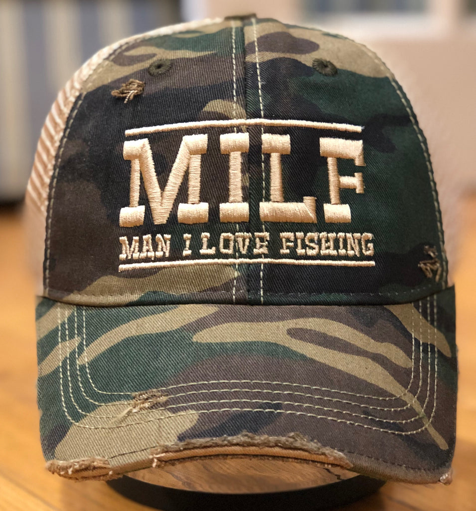 "MILF Camo Vintage Distressed Dirty Mesh Snapback ""Man I Love Fishing"" Hat"