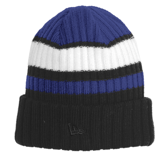 New Era Ribbed Tailgate Beanie Royal and Black Hat