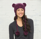 Hand Knit Cat-Eared Beanie Bright Berry