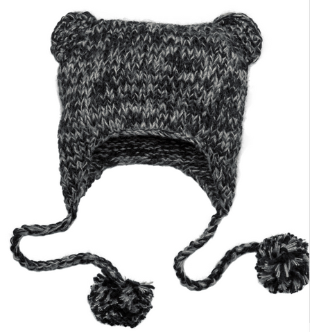 Black Hand Knit Cat- Eared Beanie