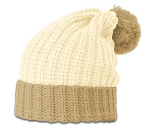 Women's Cream/Mocha Chunk Pom Beanie with Cuff
