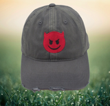 Distressed Devil Emoji Adjustable Hat by Nogginwear
