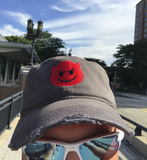 Devil Emoji Distressed Adjustable Hat by Nogginwear