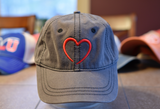 Wicked Cool Love Heart Symbol on Super Soft Unstructured Nickel Gray Hat