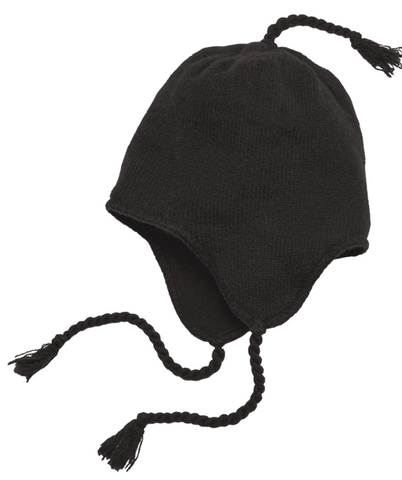 Black Knit Hat with Ear Flaps