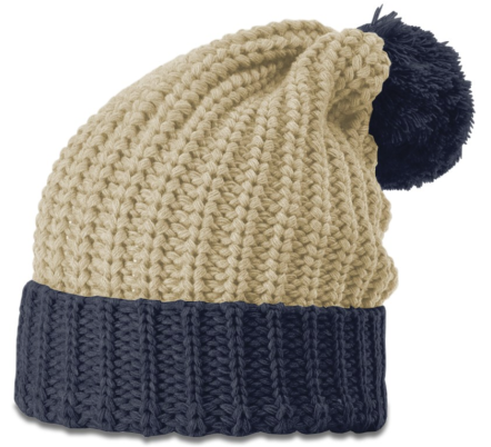 Women's Stone/Navy Chunk Pom Beanie with Cuff