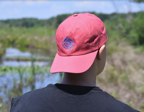 Unstructured Adjustable Nantucket Red Water Swirl Hat by Nogginwear