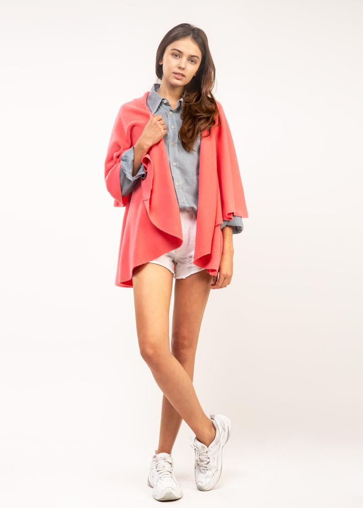 Shawl Vest - Bright Coral