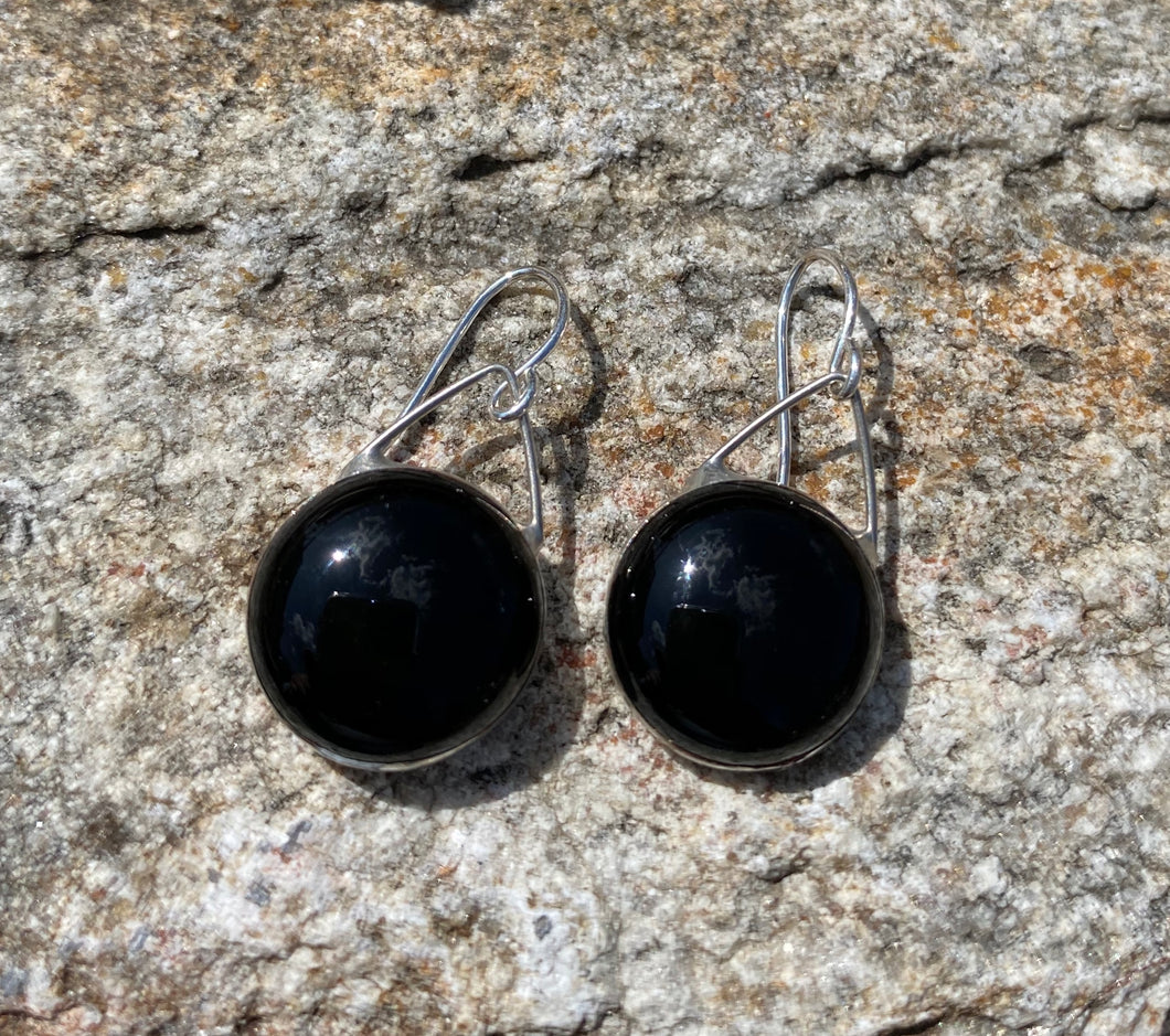 Artisan Made Glass and Sterling Drop Earring - Black