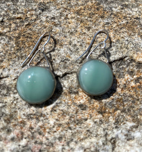 Artisan Made Glass and Sterling Drop Earring - Seafoam