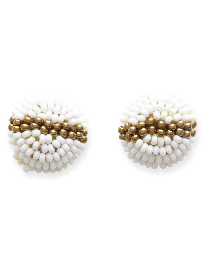 Beaded Button Stud Earring- White & Gold