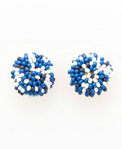 Beaded Button Stud Earring-  Blue Confetti
