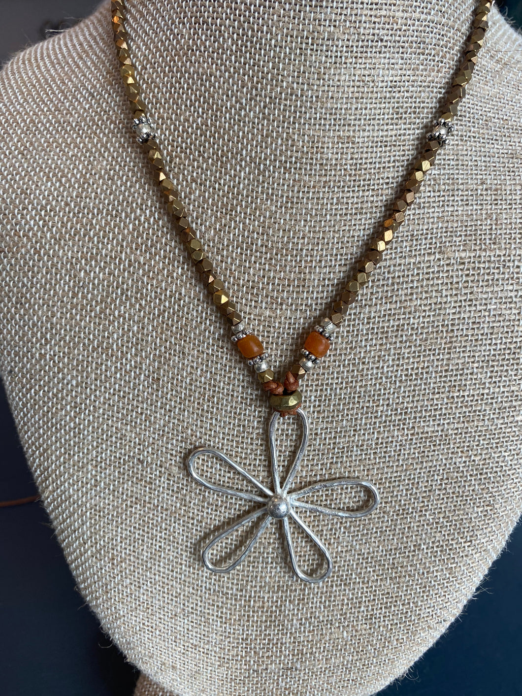 5 Petal Hammered Necklace with Accent Beads