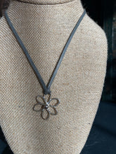 Load image into Gallery viewer, 6 Petal Hammered Sterling Flower Necklace