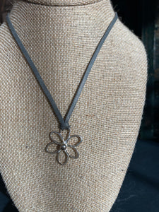 6 Petal Hammered Sterling Flower Necklace