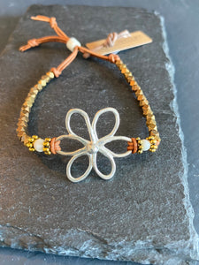 6 Petal Hammered Bracelet with Accent Beads