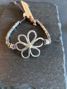 6 Petal Hammered Bracelet with Silver Accent Beads