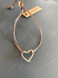 Petite Sterling Heart - Handmade, Hand Hammered, on Adjustable Leather Strap