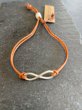 Load image into Gallery viewer, Petite Sterling Infinity - Handmade, Hand Hammered, on Adjustable Leather Strap