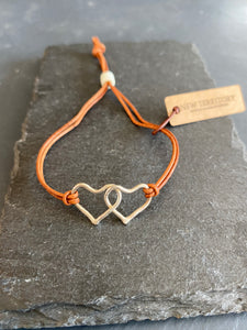 Handmade Silver Double Heart Bracelet on Leather Strap, Hand Hammered, Adjustable