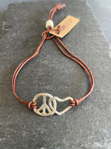 Handmade Silver Peace & Love Bracelet on Leather Strap, Hand Hammered, Adjustable