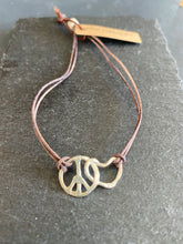 Load image into Gallery viewer, Handmade Silver Peace & Love Bracelet on Leather Strap, Hand Hammered, Adjustable